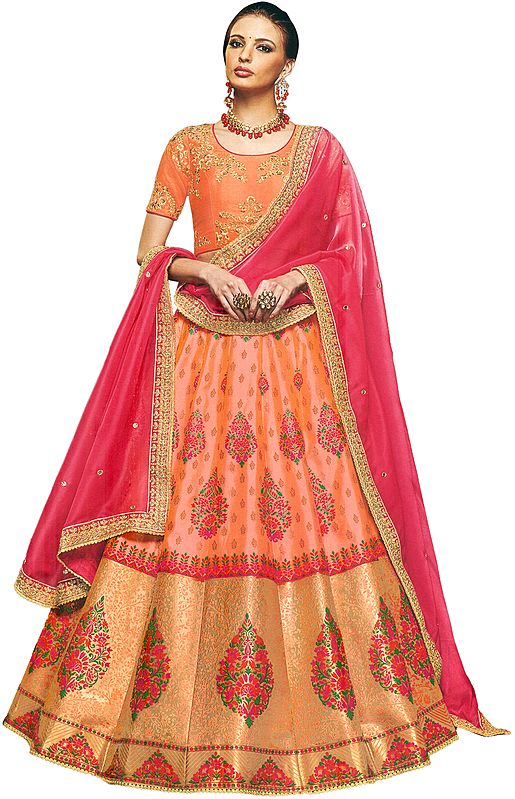 Canteloupe Brocaded Lehenga in Multicolor Thread with Embroidered Choli and Pink Dupatta