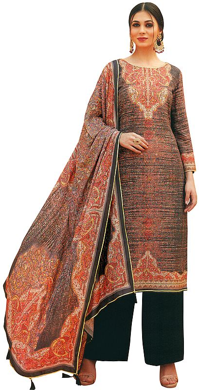Arabian-Spice and Black Palazzo Salwar Kameez Lawn Suit with Mughal Print