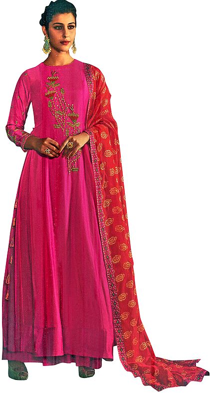 Fandango-Pink Floor-Length A-Line Suit with Floral Ari Embroidery and Printed Red Dupatta