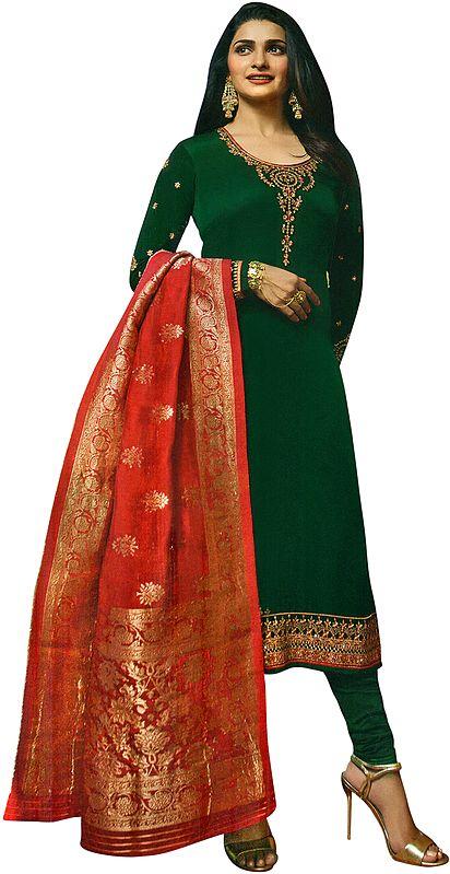 Alpine-Green Prachi Long Choodidaar Salwar Kameez Suit with Zari-Embroidery and Crystals