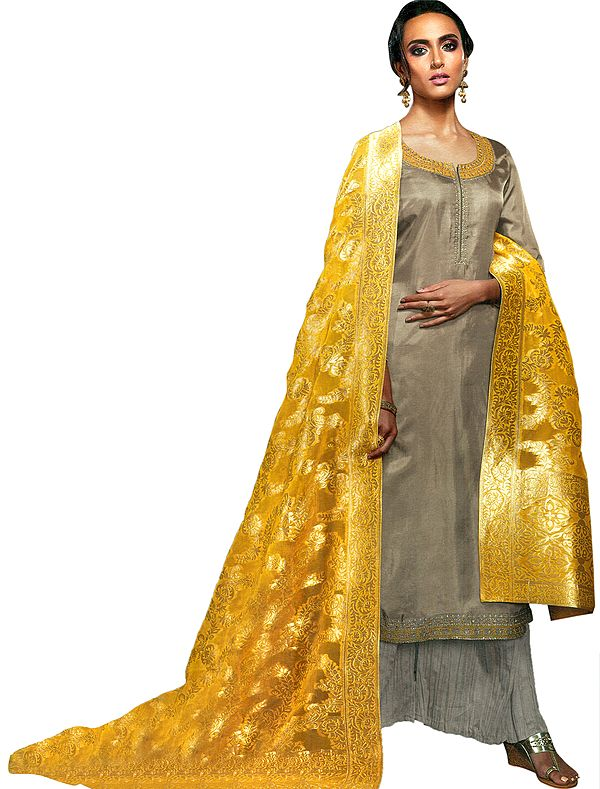 Simply-Taupe Palazzo Salwar Kameez Suit with Floral Embroidery and Zari Woven Yellow Dupatta