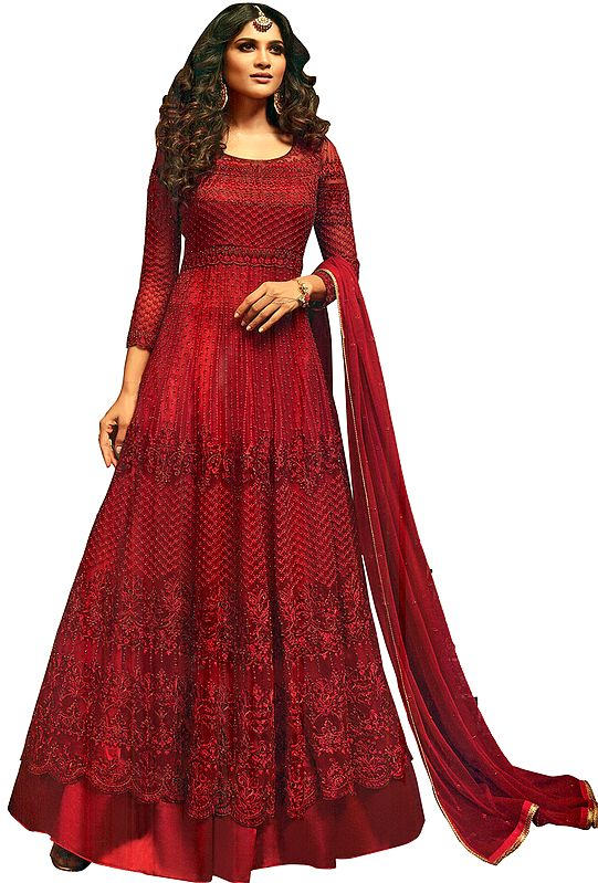 Rio-Red Floor-Length Anarkali Salwar Kameez Suit with Heavy Embroidery and Beads All-Over