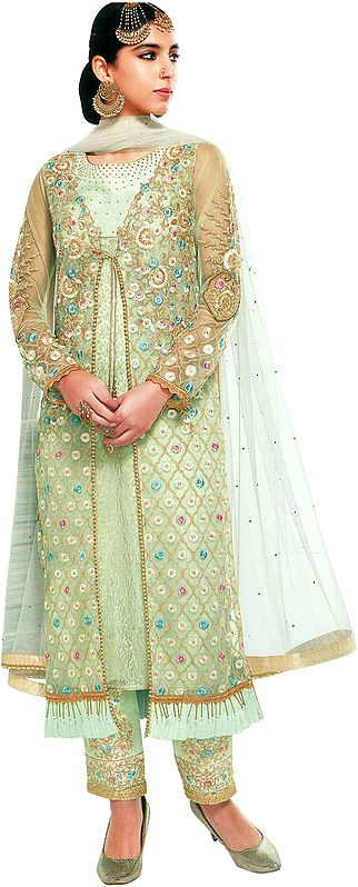 Tender-Green Jacket-Style Trouser Suit with Heavy Embroidery and Embellished Crystals