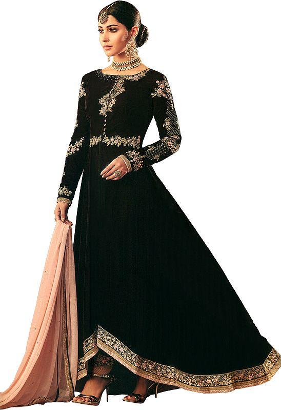 Rum-Raisin Designer A-line Salwar Kameez Suit with Zari-Embroidery and Peach Dupatta