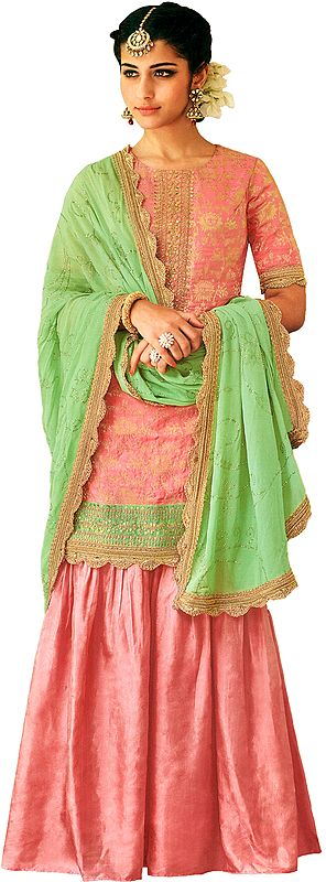 Blossom Flared-Palazzo Salwar Kameez Suit with Zari-Woven Florals and Motifs