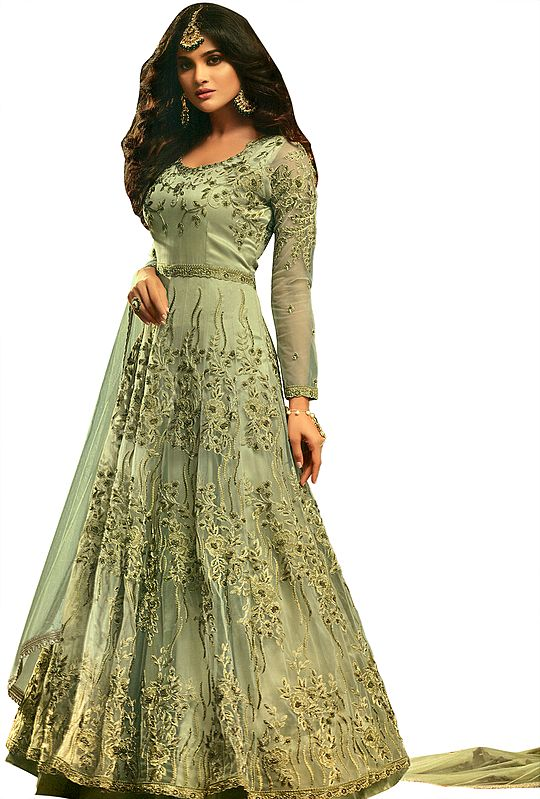 Sage-Green Floor-Length Anarkali Suit with Zari-Embroidered Florals and Beads All-Over