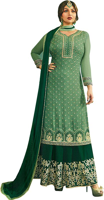 Lily-Pad Ayesha Flared-Palazzo Embroidered Salwar Kameez Suit with Embellished Crystals All-Over