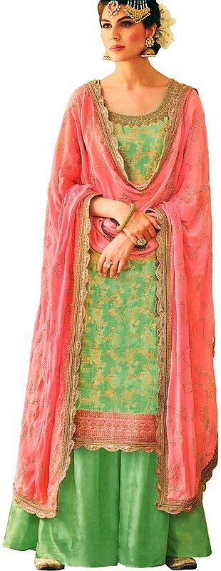 Pastel-Green Pakistani Salwar Kameez Suit with Zari-Woven Florals and Motifs All-Over