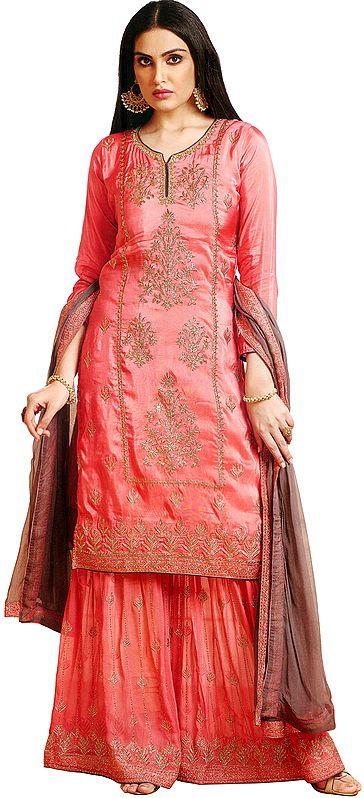 Tera-Cotta Pakistani Salwar Kameez Suit with Zari-Embroidery and Crystals