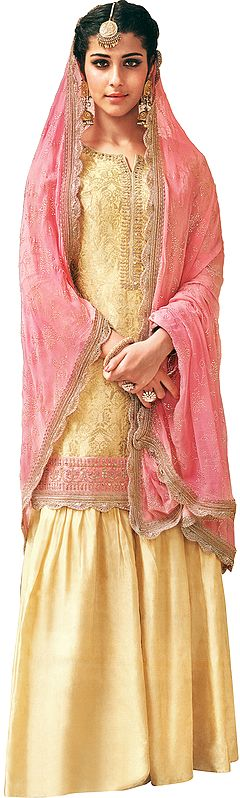 Summer-Melon Flared-Palazzo Salwar Kameez Suit with Zari-Woven Florals and Motifs