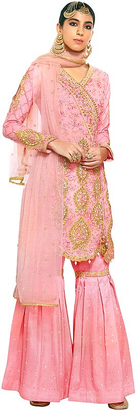 English-Rose Sharara Kameez Suit With Heavy-Embroidery and Embellished Crystals