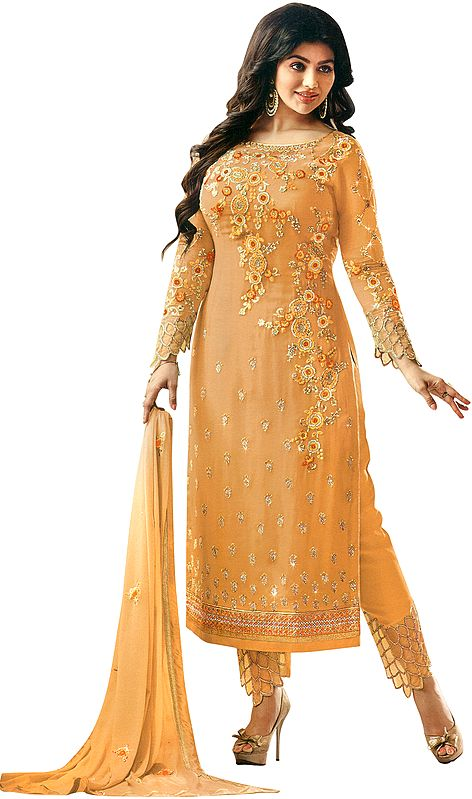 Golden-Nugget Ayesha Trouser Salwar Kameez Suit with Zari-Embroidered Flowers and Embellished Crystals
