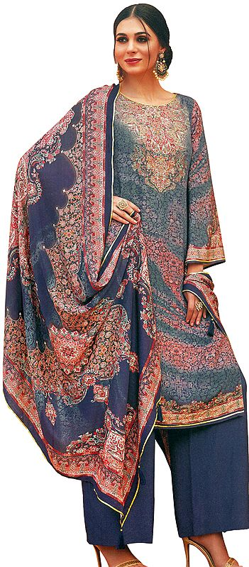 Marlin-Blue Palazzo Salwar Kameez Lawn Suit with Mughal Print