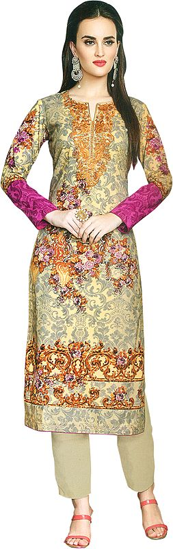 Sunlight Digital-Printed Trouser Salwar kameez Suit with Embroidery and Chiffon Dupatta