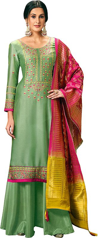 Basil Flared Palazzo Salwaar Kameez Suit with Floral Embroidery and Brocaded Dupatta