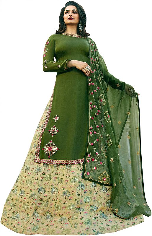 Chive-Green Prachi Kameez with Long Floral Printed Skirt and Crystals Studded Chiffon Dupatta