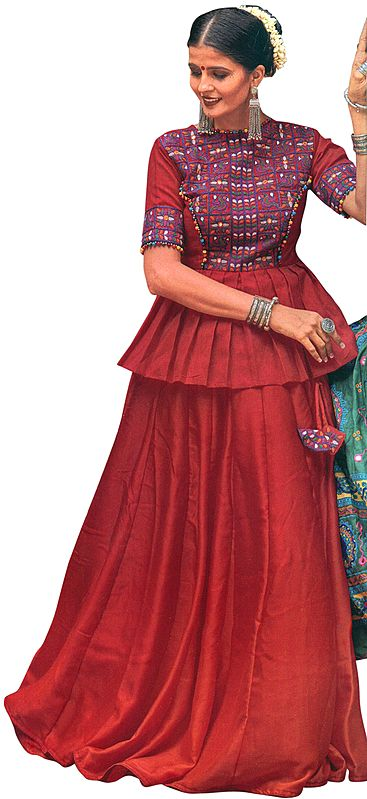 Rococco-Red Lehenga Choli from Gujarat with Embroidered Peacocks and Mirrors