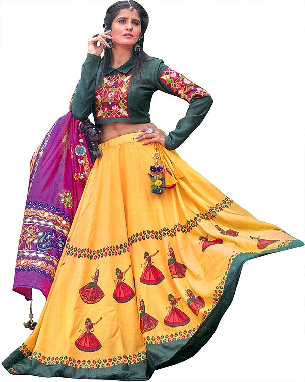Green and Yellow Lehenga  and Embroidered Choli from Gujarat with Printed Dancing Village Girls