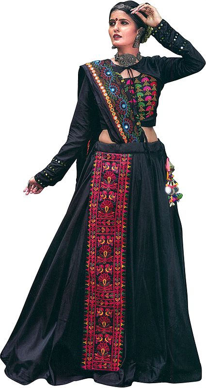 Pirate-Black Lehenga Choli from Gujarat with Embroidered Long Patch in Multicolor Thread and Mirrors