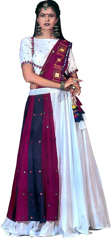 Magenta and White Lehenga Choli from Gujarat with Hand Embroidery and Studded Mirrors