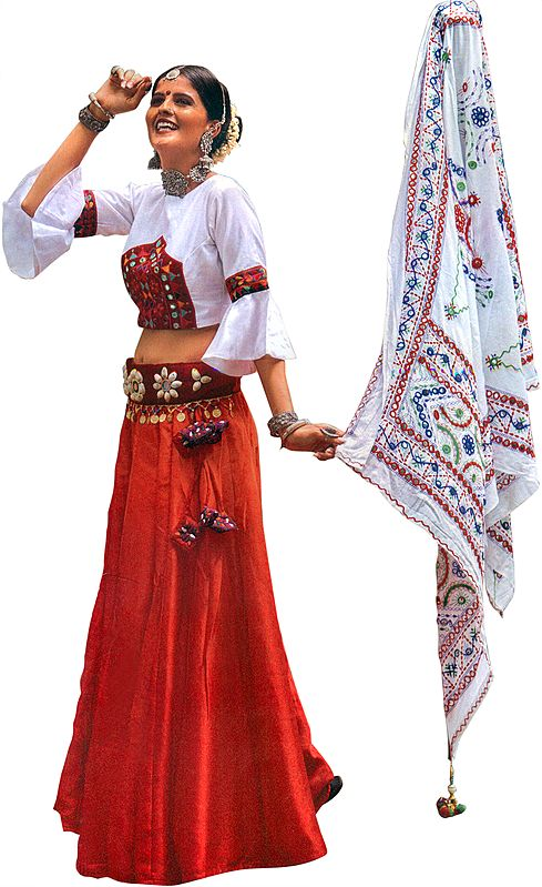 Bittersweet Red and White Lehenga Choli Ensemble from Gujarat with Shells and Mirror Studded Kamar Bandh