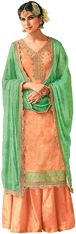 Pale-Peach Flared Palazzo Salwar Kameez Suit with Zari-Woven Flowers