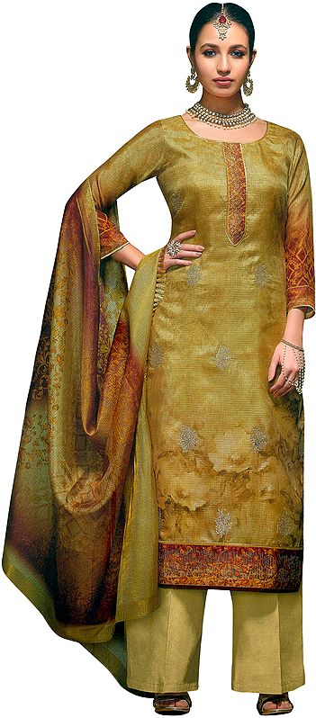 Sauterne Long Parallel Salwar Kameez Suit with Zari-Embroidery