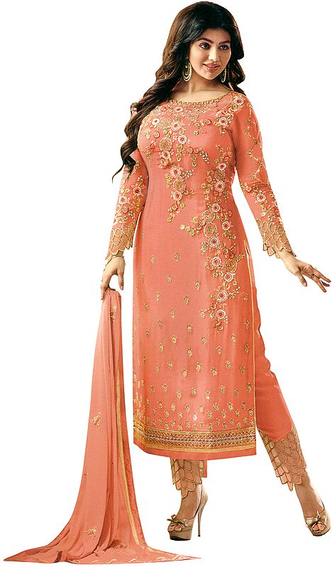 Canyon-Sunset Ayesha Trouser Salwar Kameez Suit with Zari-Embroidered Flowers and Crystals