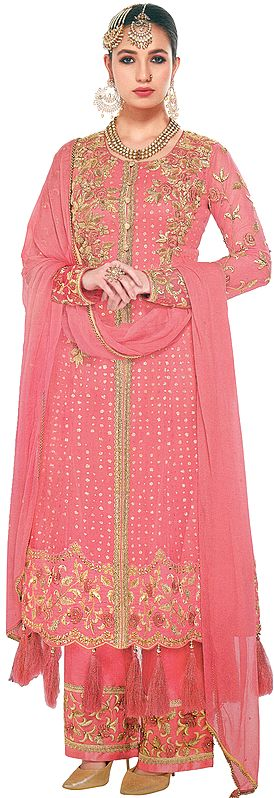 Rose of Sharon Palazzo Salwar-Kameez Wedding Suit With Heavy-Embroidery
