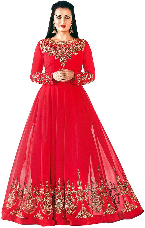 Barberry-Pink Floor-Length A-Line Suit with Zari-Embroidery and Chiffon Dupatta