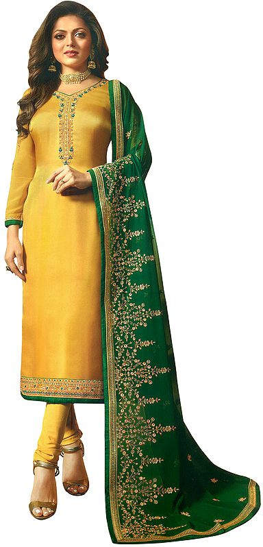 Sulphur-Yellow Drashti Choodidaar Salwar-Kameez Suit with Floral Zari-Embroidery and Green Chiffon Dupatta