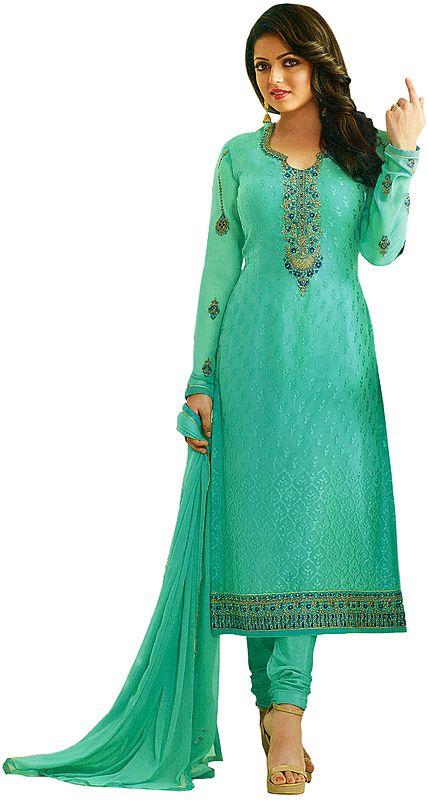 Gumdrop-Green Drashti Choodidaar Salwar Kameez Suit with Self-Weave