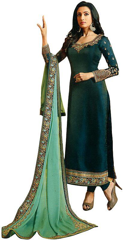 Atlantic-Deep Long Choodidaar Salwar Kameez Suit with Zari-Embroidery and Chiffon Dupatta