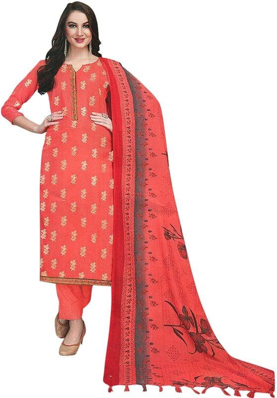 Dubarry-Pink Trouser Salwar Kameez Suit with Printed Floral Dupatta