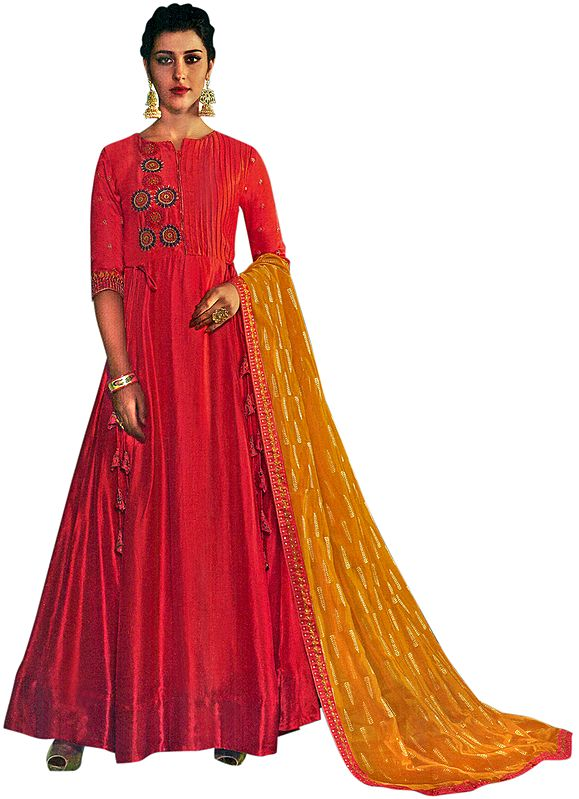 Cayenne Floor-Length A-Line Suit with Floral Ari Embroidery and Printed Dupatta