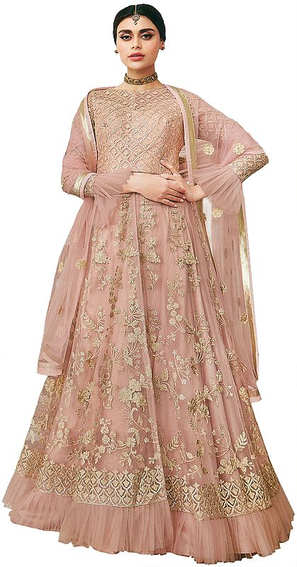Rose-Cloud Long Lehenga Choli Suit with Crystals Studded Crop-Top and Net Dupatta