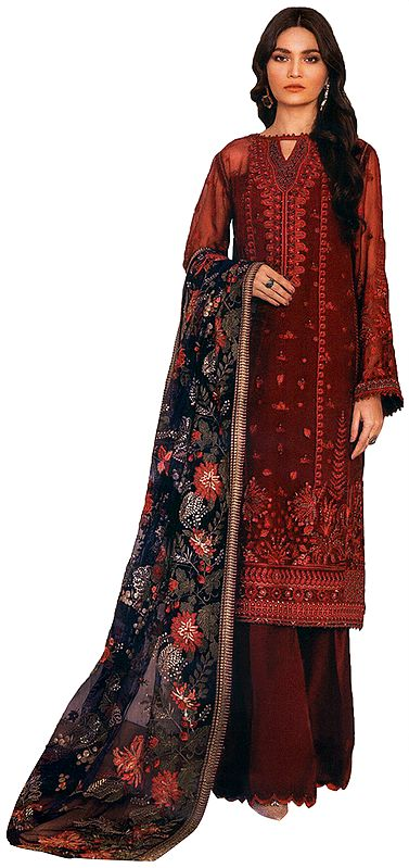 Garnet-Red Palazzo Salwar Kameez Suit with Floral Embroidery and Heavy Net Dupatta