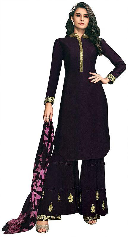 Italian-Plum Sharara Salwar-Kameez Suit with Zari-Embroidery and Chiffon Dupatta