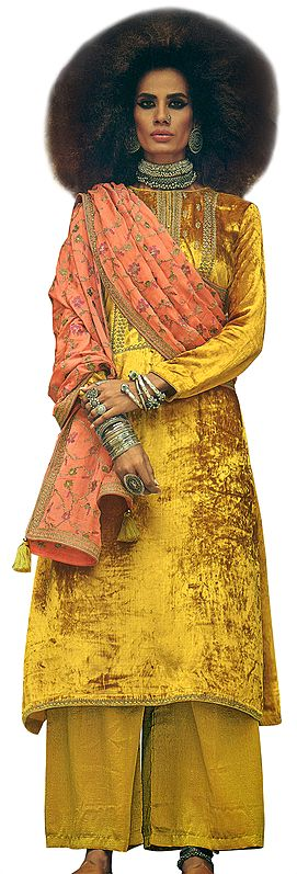 Honey-Yellow Long Palazzo Salwar-Kameez Suit with Zari-Embroidery and Peach Dupatta