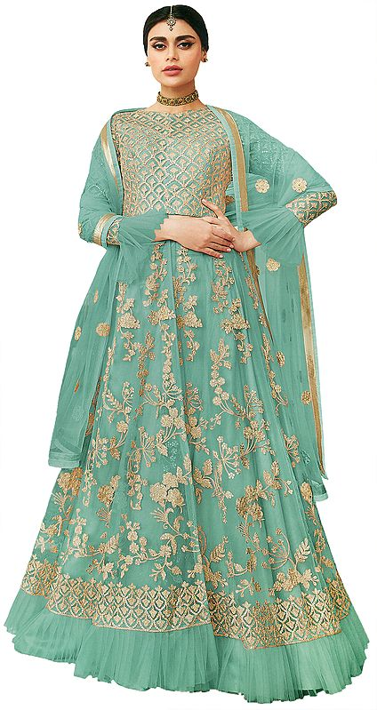 Turquoise Lehenga Choli with Crystal Studded Crop-Top and Net Dupatta