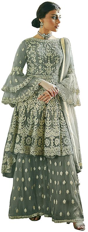 Moon-Gray Sharara Salwar and Peplum Kameez with Heavy Embroidery and Studded Crystals