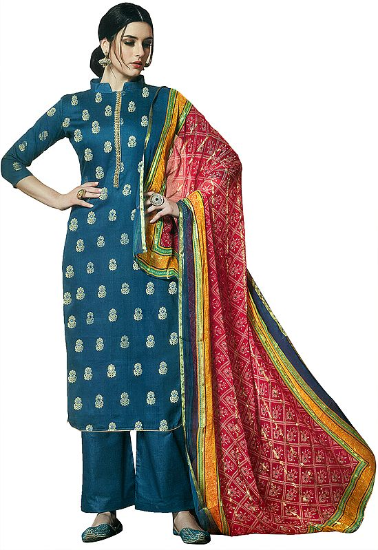 Stellar-Blue Zari-Woven Salwar Suit with Palazzo Trousers and Gota Embroidery on Neck