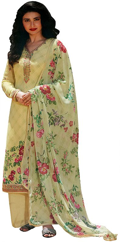 Garden Glade-Green Floral Printed Salwar-Kameez Suit with Embroidery on Neck and Chiffon Floral printed Dupatta