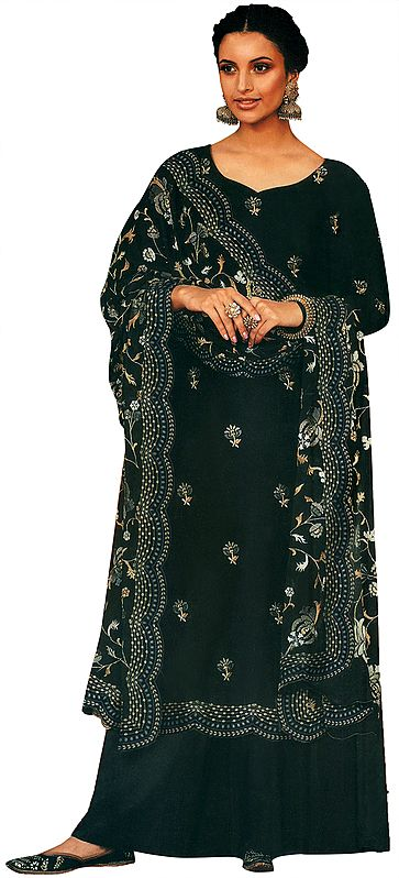 Jet-Black Palazo Salwar- Kameez Suit with Embroidered Flowers  and Heavy Dupatta
