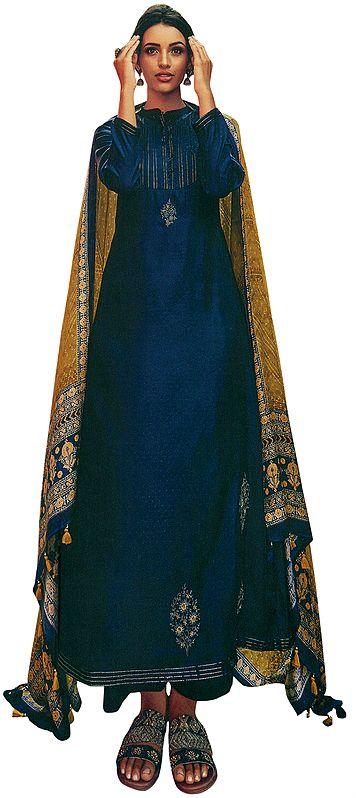 True-Blue Long Trouser and Kameez Suit with Zari-Embroidery and Floral Printed Dupatta