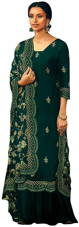 Long Zari Embroidered Kameez with Lehenga and Heavy Floral Zari  Embroidered Dupatta