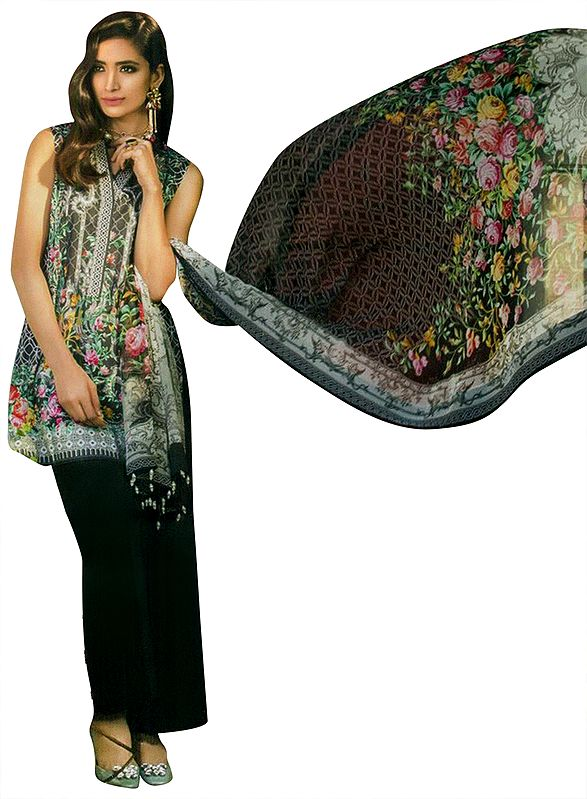 Jet-Black Kameez Suit with Embroidered lace and Floral Print and Printed Dupatta