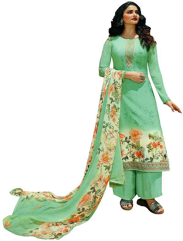 Ice-Green Palazzo Salwar- Printed and floral embroidery Kameez Suit with Floral Printed Dupatta