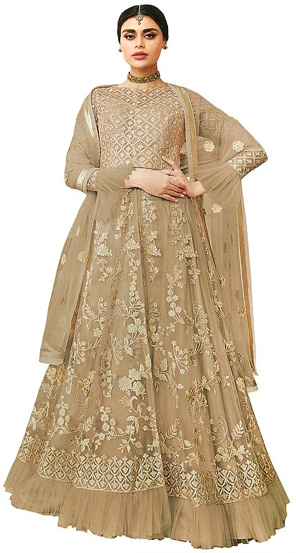 Dull-Gold Zari Embroidered Lehenga with Sequins and Beads  with Embroidered Dupatta