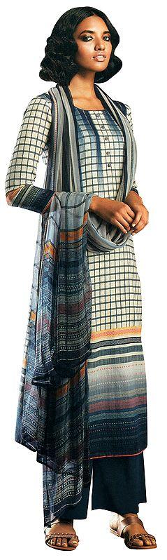 Indigo-Blue Palazzo Salwar- Geometric Prints Kameez Suit with Buttons and Printed Dupatta